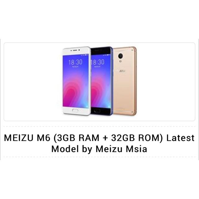 🔴MEIZU M6 (3GB RAM 32GB ROM) BLACK-LATEST MODEL BY MEIZU MALAYSIA🔴