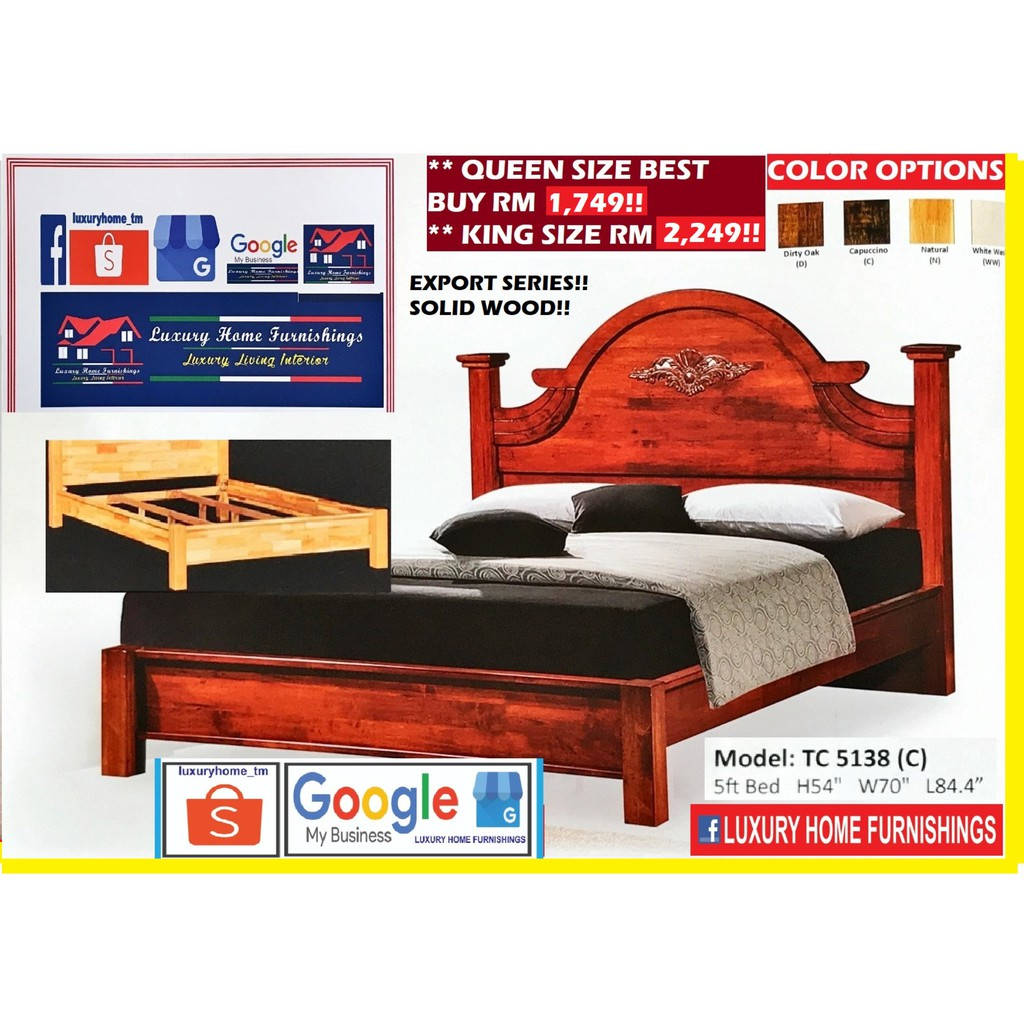 SOLID WOOD BED COLLECTIONS, 5138C KING SIZE SOLID WOOD BED WITH DOUBLE SUPPORT BASE