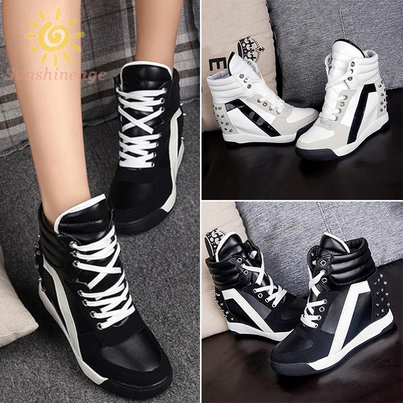 Womens Ladies Canvas Velcro Srap Hidden Wedge Sneakers Trainers Shoes