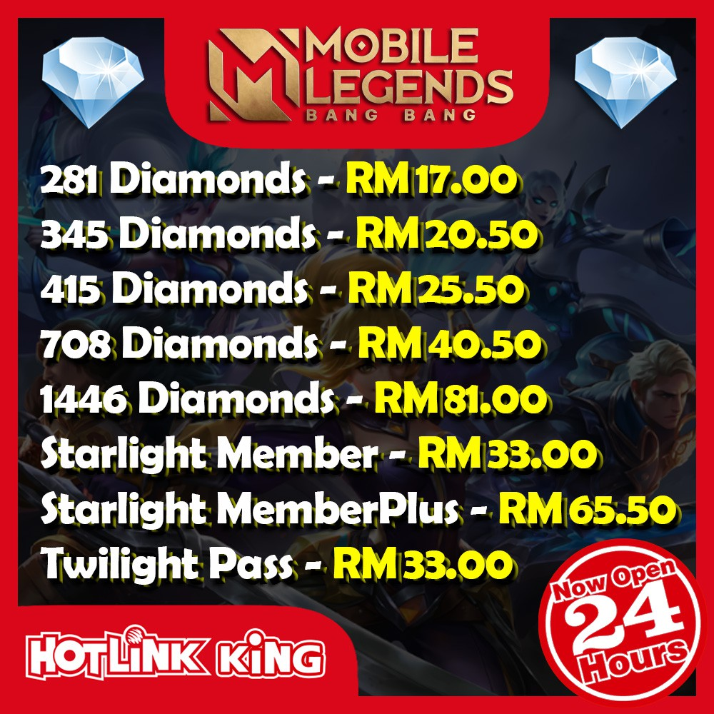 Mobile Legends Diamond 24 Hours Instant Top Up 100 Legit Top Up Via Id Cheap Fast Service Mlbb Diamond Shopee Malaysia
