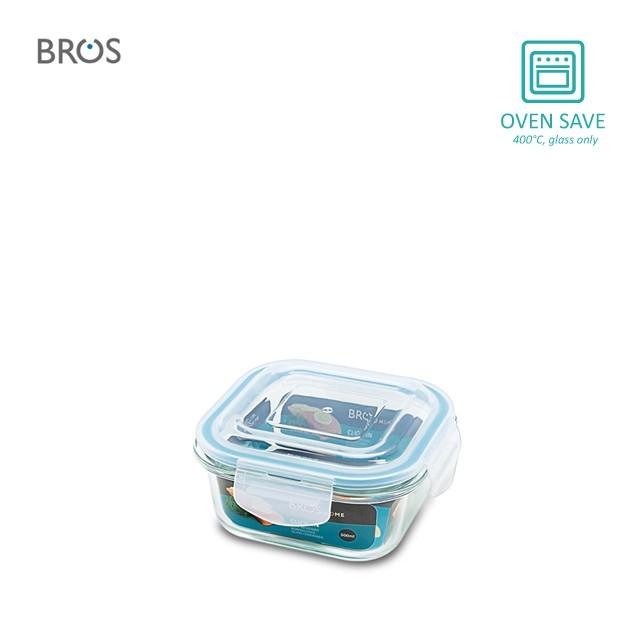 BROS Glass Container Click-In Square (500ml)