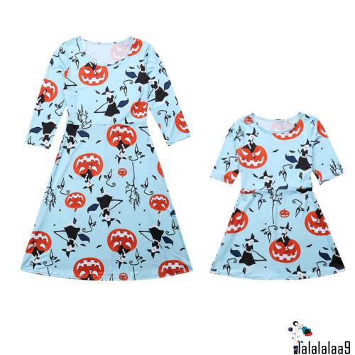Mother Daughter Fashion Dress Women Girl Hallowmas Party Parent-child Gown Dress