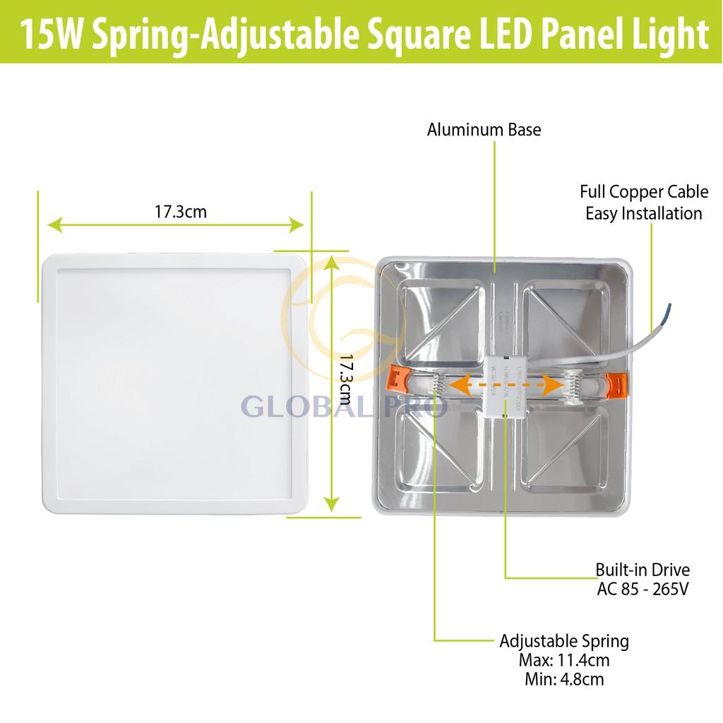 15W Spring-Adjustable LED SQUARE Daylight 6500K Panel ... on