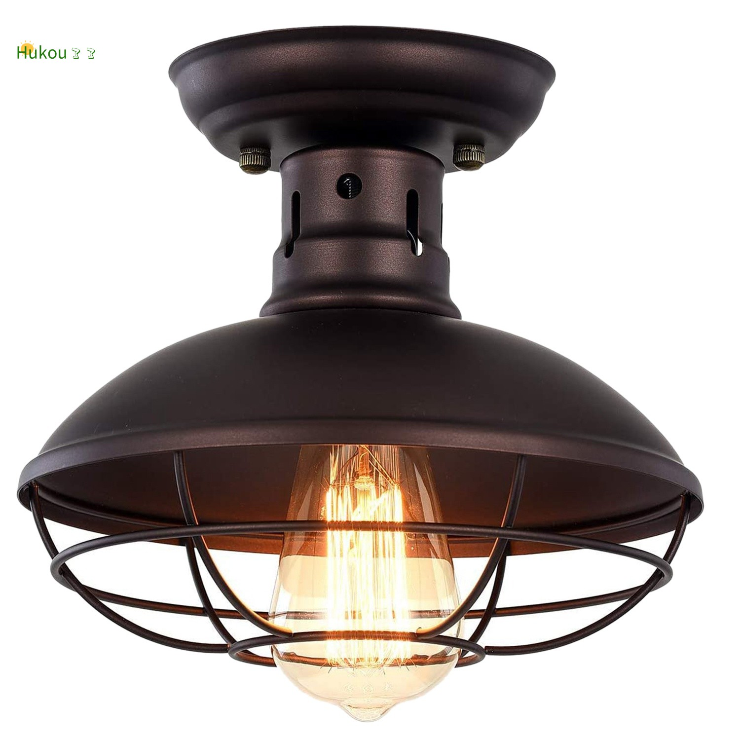 Industrial Metal Cage Ceiling Light E26 Semi Flush Mount Mini Pendant Lighting Chandelier For Porch Kitchen Shopee Malaysia