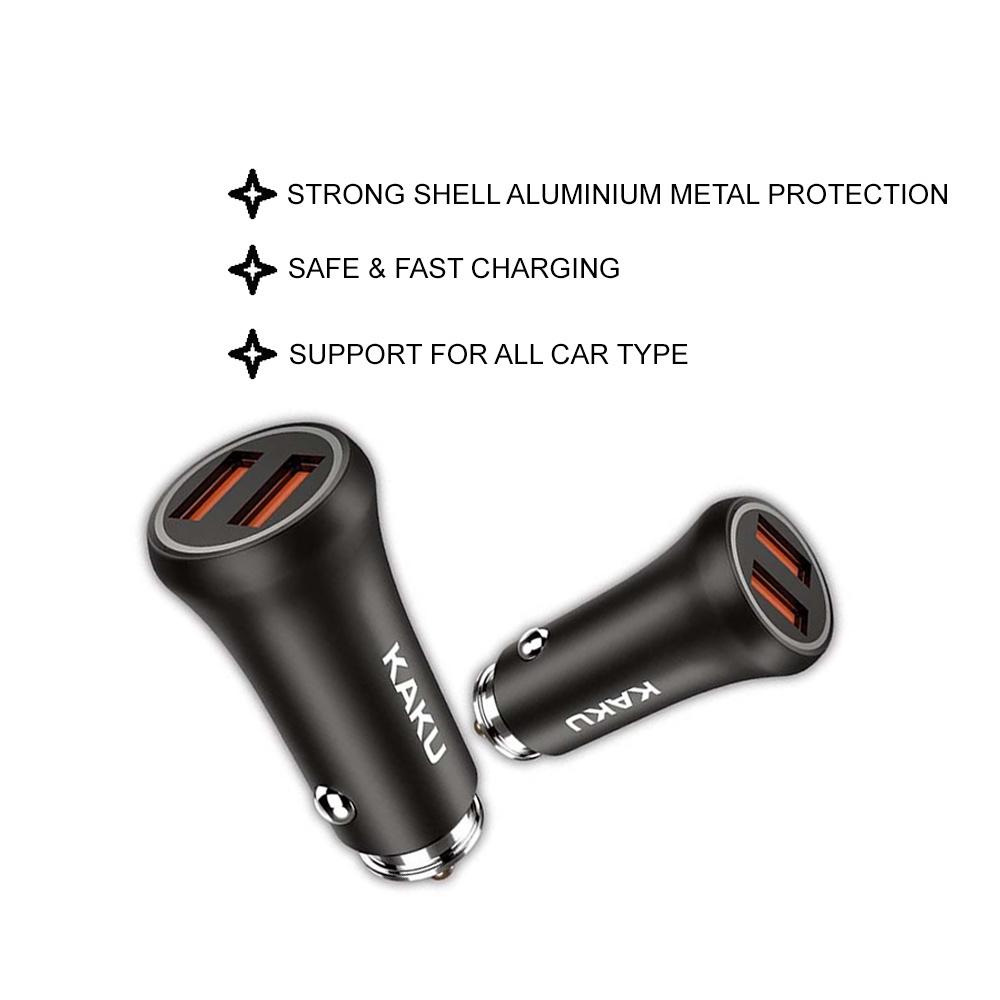 IKAKU KAKU ZHIDA USB 3A Car Charger Dual Port Fast Charging Quick Charge Safe Protection Hard Shell Smartphone Tablet