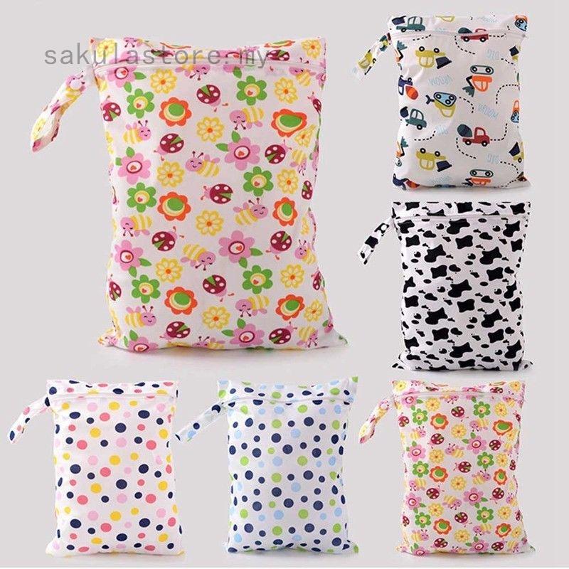 Waterproof Baby Diaper Bag Reusable Washable Zipper Kid Cloth Diaper Storage Bag