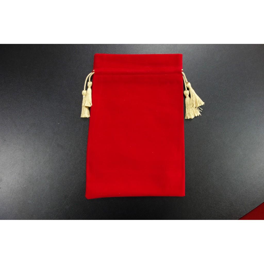 Plain Red Velvet Gift Bags with Gold Drawstring