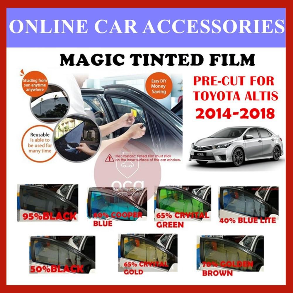 Toyota Altis 2014-2019  - Pre-Cut Shape Magic Tinted Solar Tinted (4 Windows & 2 Triangle /4 Windows+Rear)