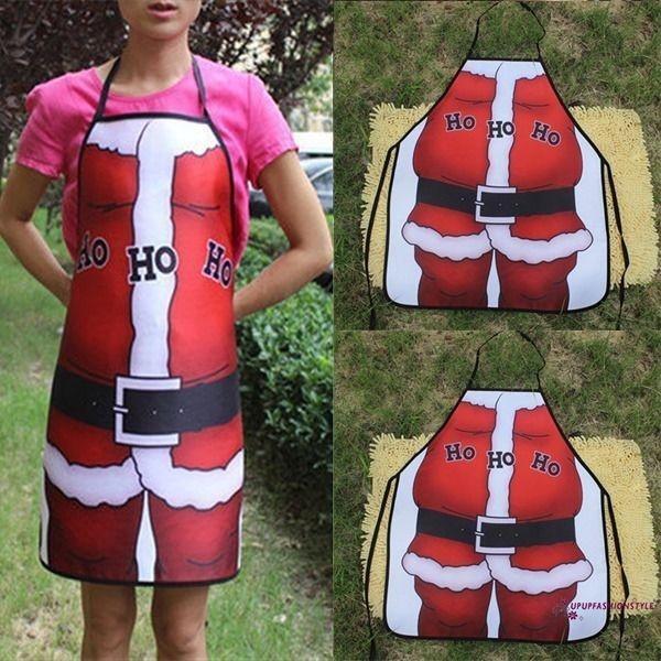 f354089760f IPT-Unisex Christmas Kitchen Apron Red Bib Waitress Fancy Dress Clothes Xmas