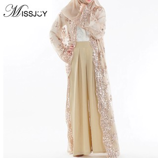 5c61959751c52 MISSJOY Sequin Kaftan Muslim abayas Arab Maxi Dress Cardigan ...
