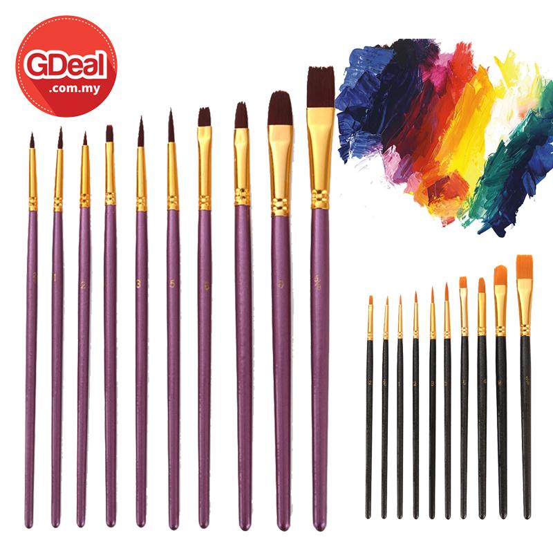 GDeal Set of 10  Acrylic Art Brushes Nylon Hair Artist Paint Brush Berus Melukis بروس ملوكيس