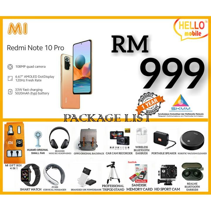 XIAOMI REDMI NOTE 10 PRO / 9 PRO 8GB+128GB  FREE GIFT 100% ORIGINAL BY XIAOMI MALAYSIA SET