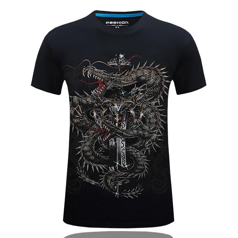 Dragon Original Printed Short Sleeve Shirt Size XS-2XL Big,Tattoo Style Traditio
