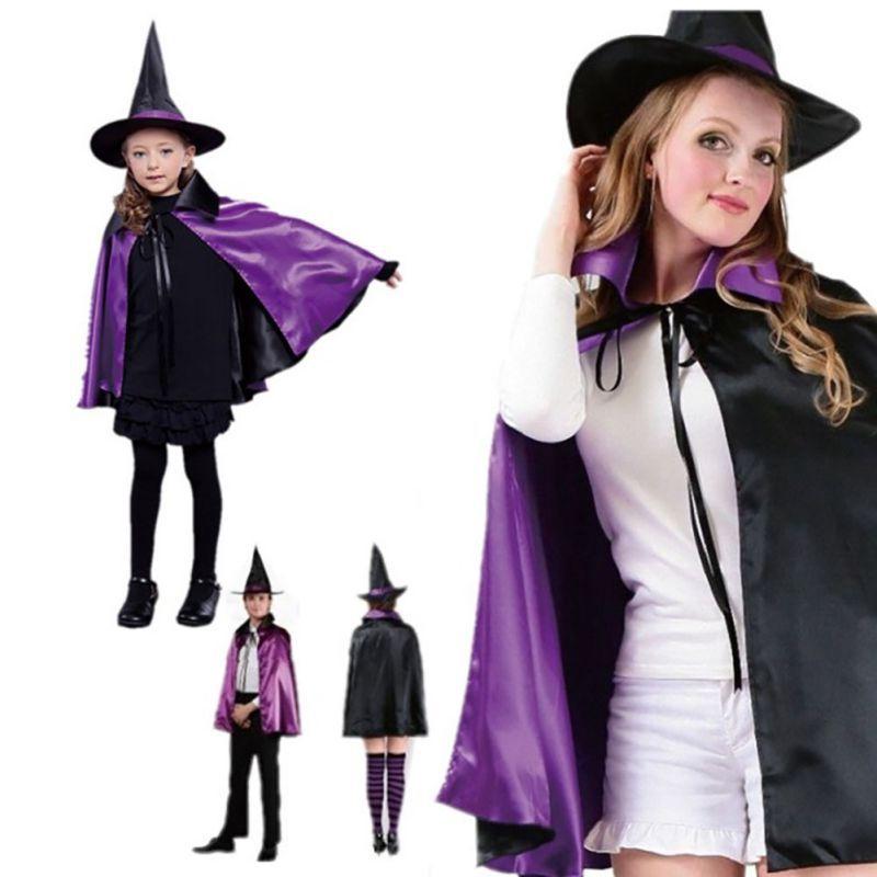 ADULTS SATIN CAPE VAMPIRE WITCH SUPER HERO COSTUME HALLOWEEN FANCY DRESS UNISEX