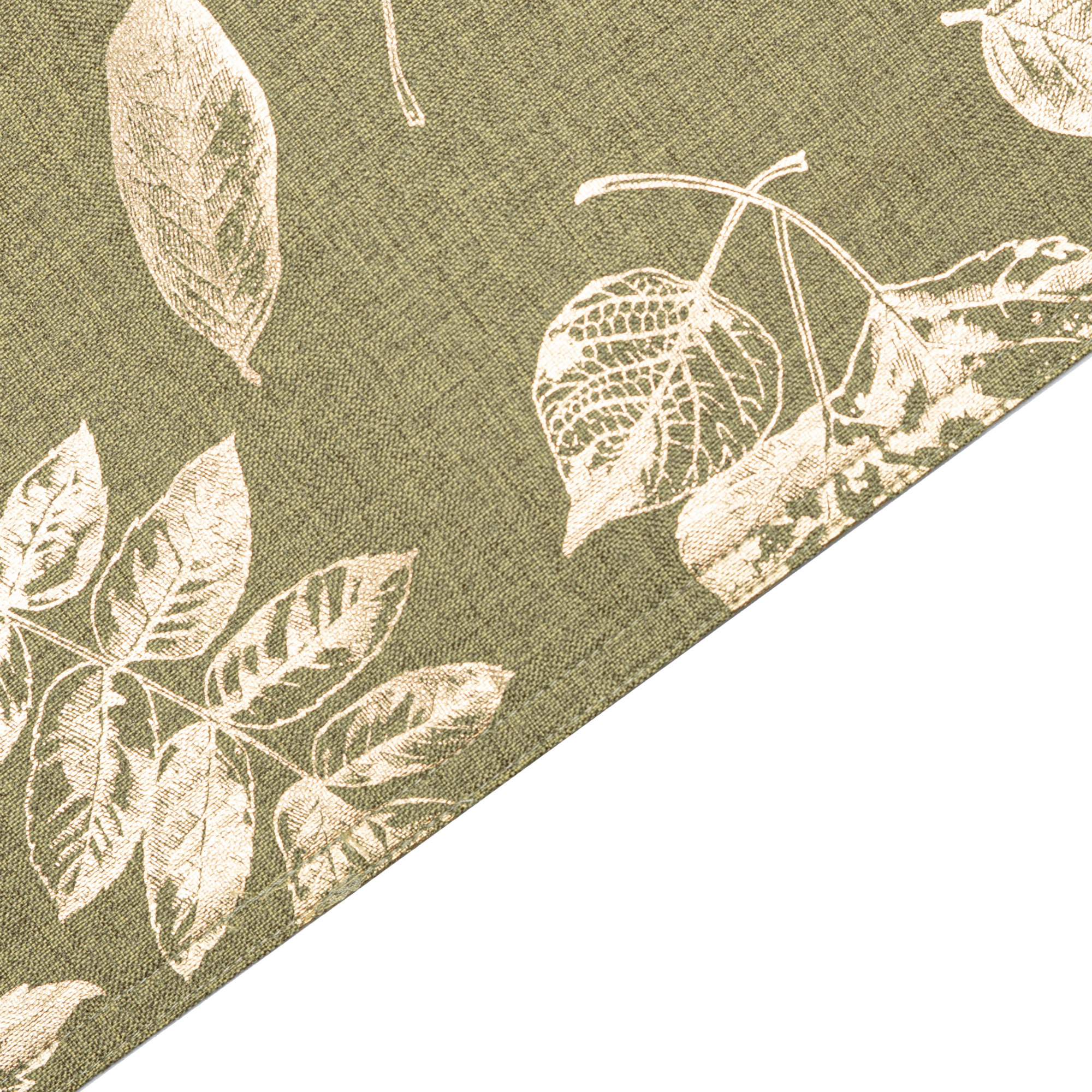 Leaves Foil Printed Rectangle Placemats/Table Mats With Solid Lining. Polycotton. Set Of 2,4 Or 6 (Gold On Green)