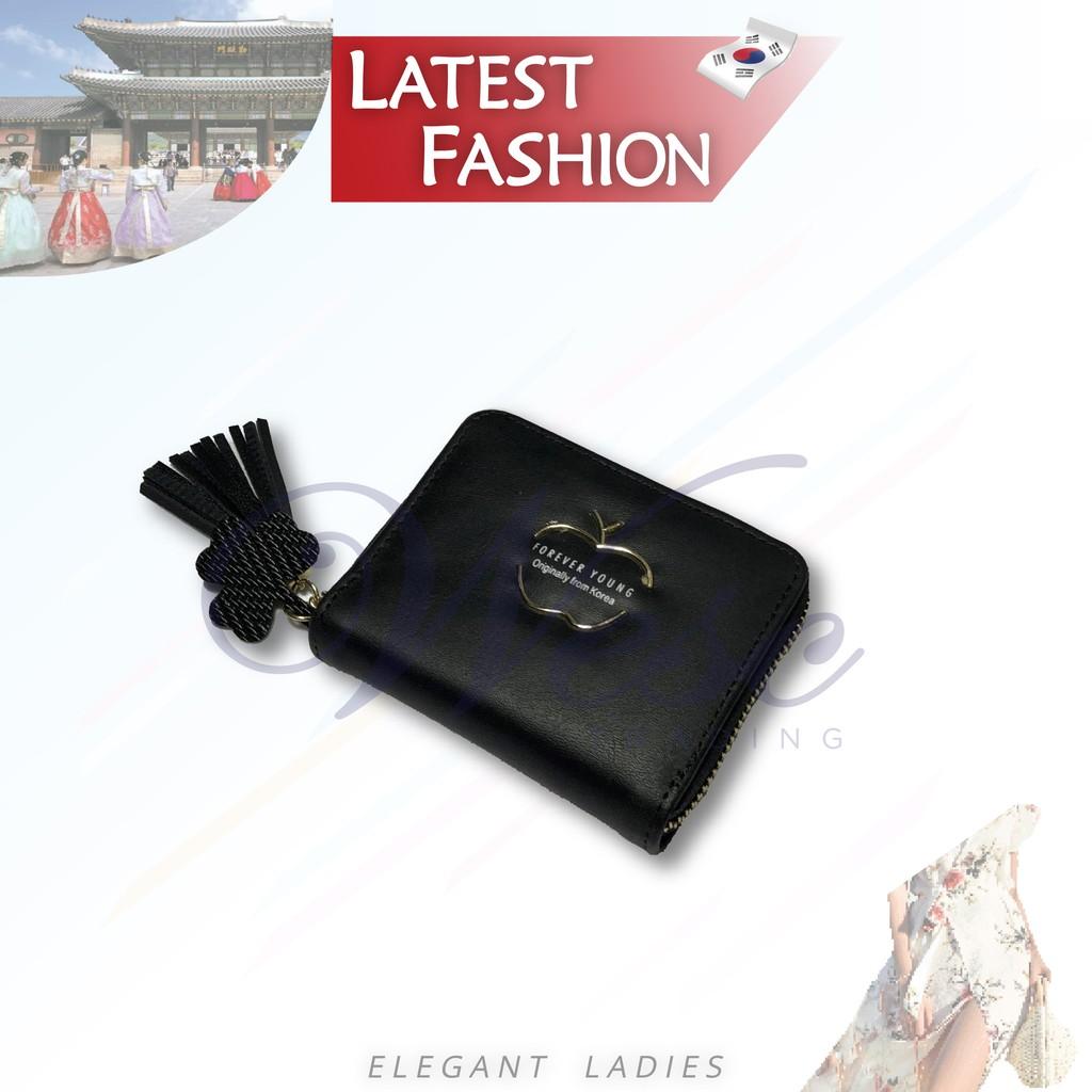 Korean Designer Fashion Latest Trendy Ladies Compact Wallet (Black)