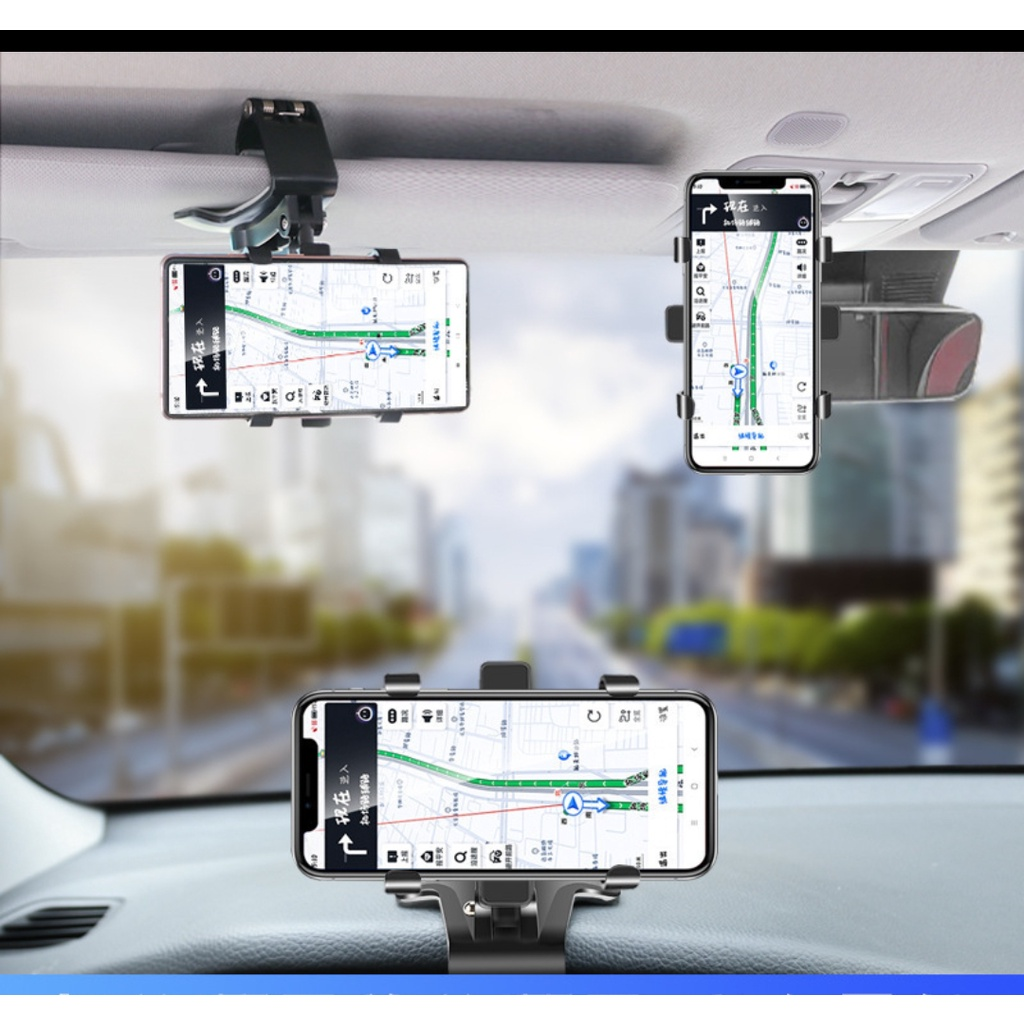 Car phone holder multi-function car rearview mirror universal navigation bracket instrument panel fixing clip in