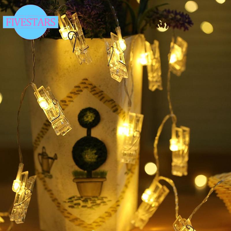 buy popular b045b cc4a4 LED Photo Clip Peg String Fairy Lights Battery Operated Home Party Wedding