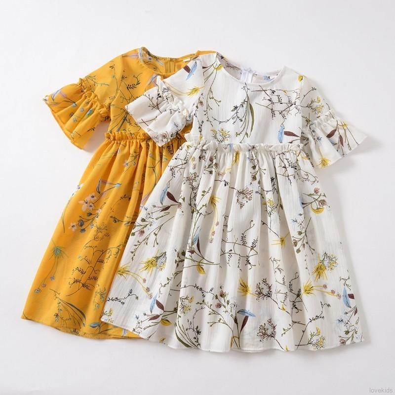 bccf4877bd6a1 3-7Yrs Flower Infant Kids Girl Floral Short Sleeve Dresses Pageant Sundress