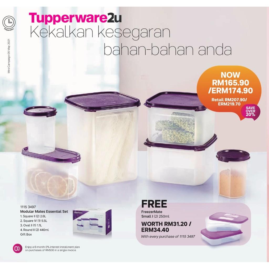 (New)(Ready stock) Tupperware Modular Mates Essential Set in Gift Box (Free 2 pcs Freezermate)(last set)