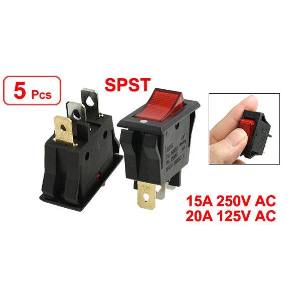 Red AC 15A//250V 20A//125V ON-OFF 2 Position SPST Boat Rocker Switch 3 pins
