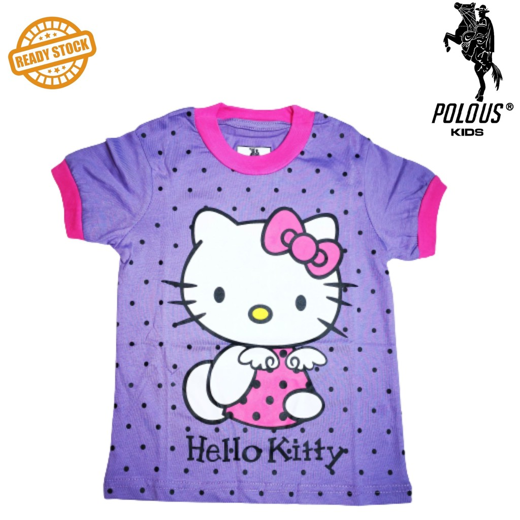 POLOUS Girl Cotton Short Sleeve Round Neck Shirt 9017-HELLO KITTY