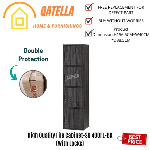Qatella DIY 4 Kotak Cabinet (ada Lock) H 157cm W 40cm D39cm/Utility Shelf/Book Rack/Storage Cabinet/Book Shelf(SU 400FL)