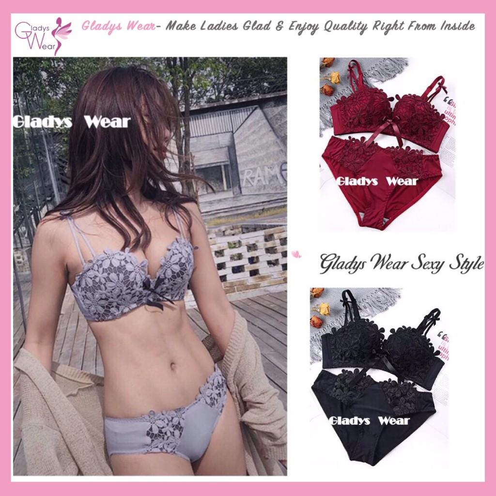 83e60e9567d Lace Sexy Push Up Bra Set Underwear Lingerie Gather Bralette Seamless Bra    Shopee Malaysia