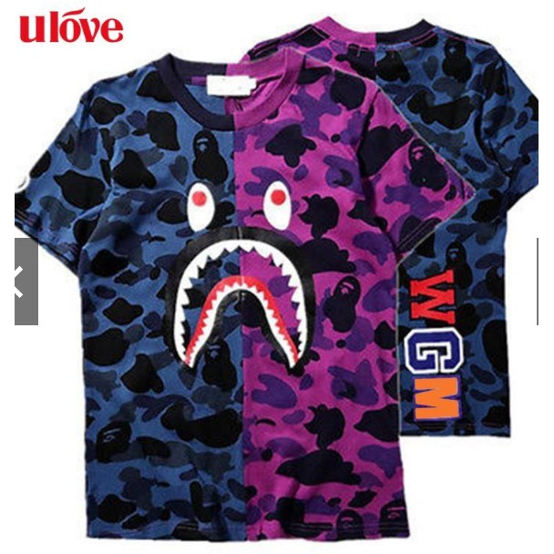 4460c2da Mens Bape A Bathing Ape Shark Head Camo Army T-shirt Tops M purple ULO