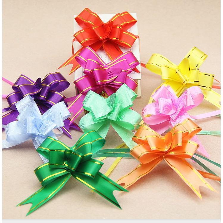 10 PC-White//Blue Satin Ribbon Bows 4 cm x 3 cm