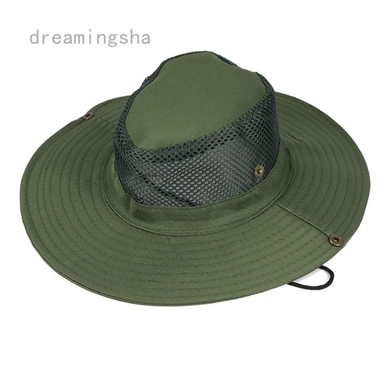 Men Army Camo Hunting Fishing Hiking Outdoor Cap Bucket Boonie Sun Hat Mesh SS+