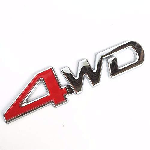 "Car 3D Aluminum /""4WD/"" Logo Red 4 Rear Trunk Fender Emblem Decor Badge Sticker"