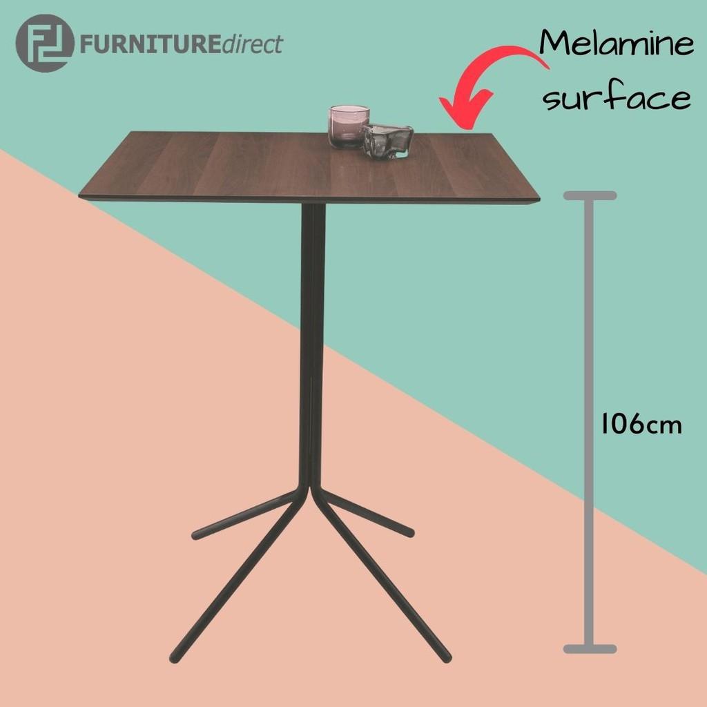 106cm height Curt Bar Table in Walnut Laminate with Matt Black Epoxy Metal Leg
