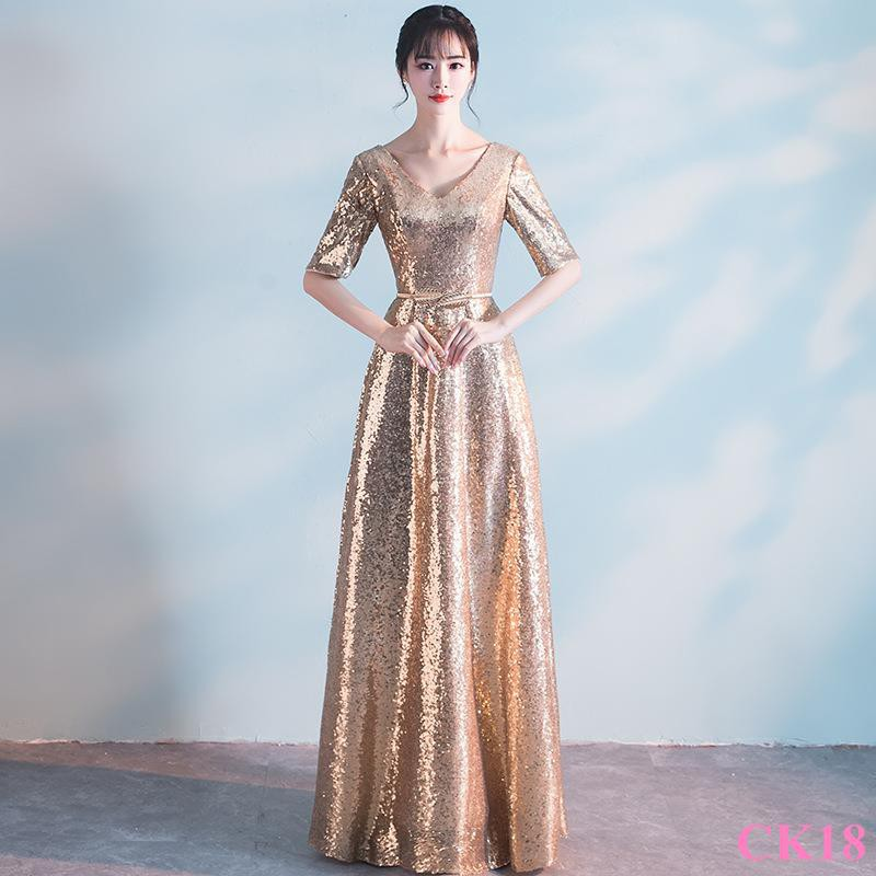 8ae75eaf3 Dress female 2018 new host banquet ladies party dress gold noble elegant  evening | Shopee Malaysia