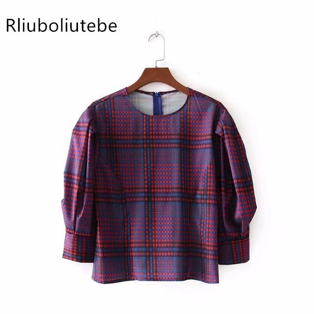 2019 Womens  Multi Color Bubble Sleeves Checked Dress