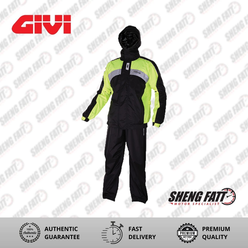 GIVI 02 AX-Comfort Full Body Neon Rain suit Raincoat for Motorcyclist