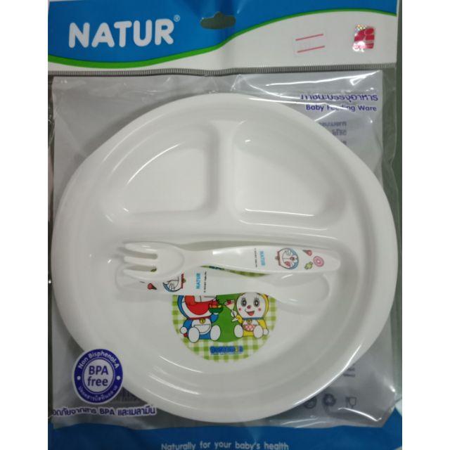 ชุดจานหลุม+ช้อนซ่อมใส่อาหารเด็กลายกา
