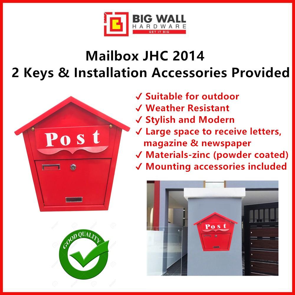 Mailbox Letter Box JHC 2014 (Red) Peti Surat (Big Wall Hardware)