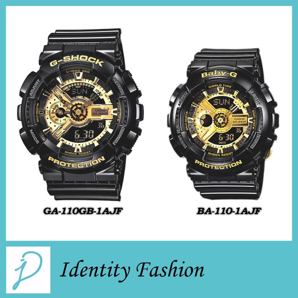Casio GA-110GB-1A   BA-110-1A Couple Watch G-Shock Baby-G Watches Black  Gold Jam  66e35cbfc2