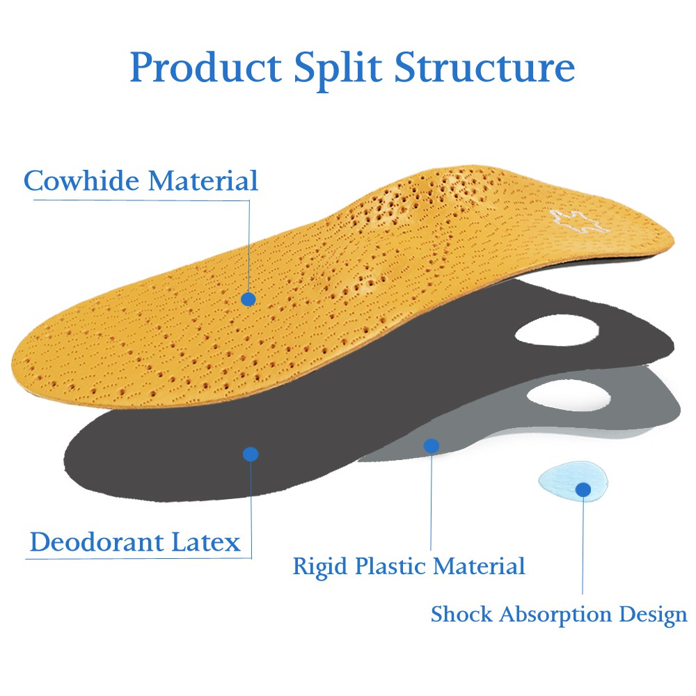 Flat Foot Support Insoles Arch Orthotics Insole Leather Orthotic Orthopedic New