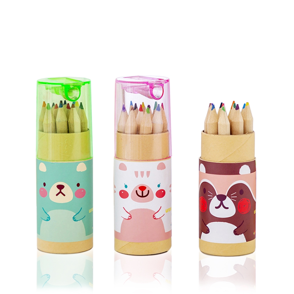 Mini Kids Cartoon Animals 12 Color Pencil with Sharpener Case Stationary Gift Set