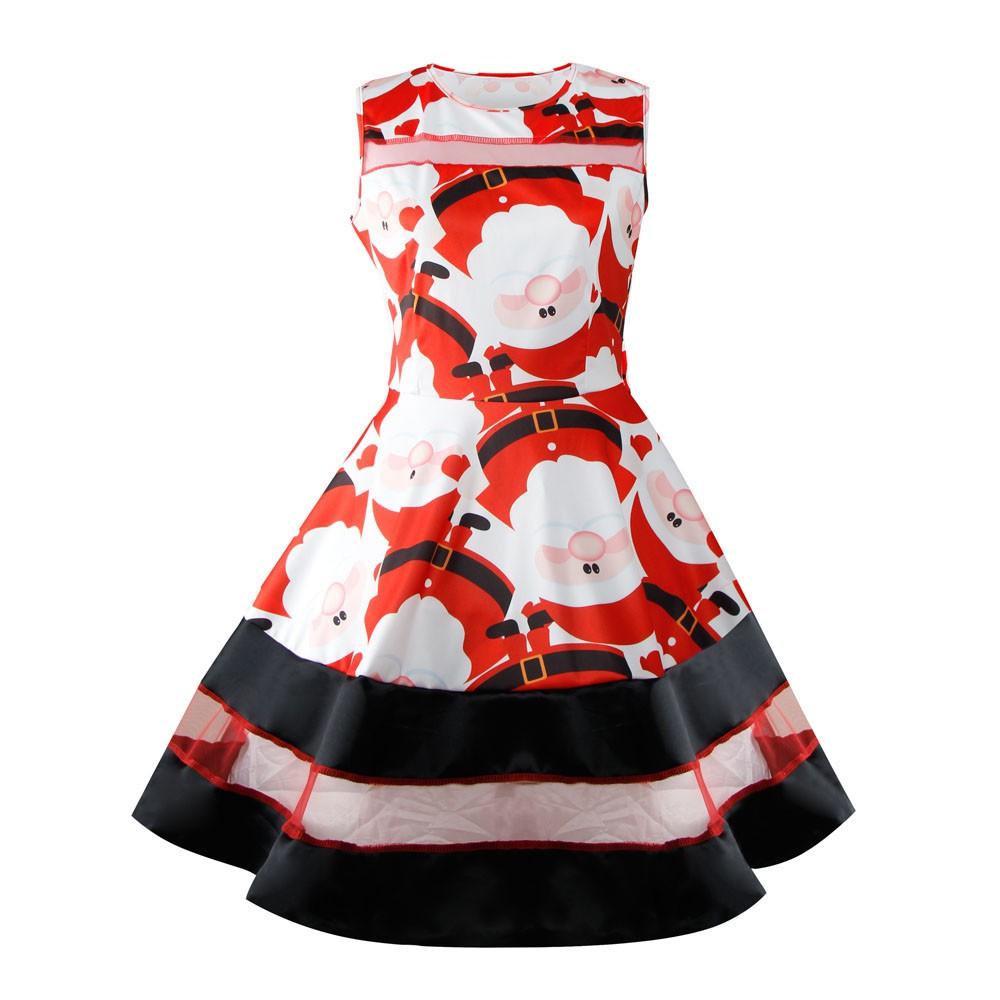 Christmas Dresses Womens.Womens Santa Snowman Christmas Dress Sleeveless Xmas Swing Retro Dresses