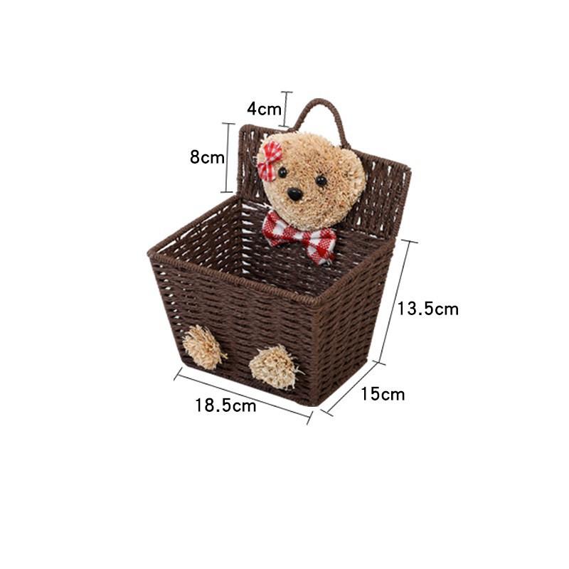 [ READY STOCK ]  Creative Cartoon Bear Hang Rope Basket Rattan Desktop Remote Storage Organizer Box Simpanan Jualan Murah