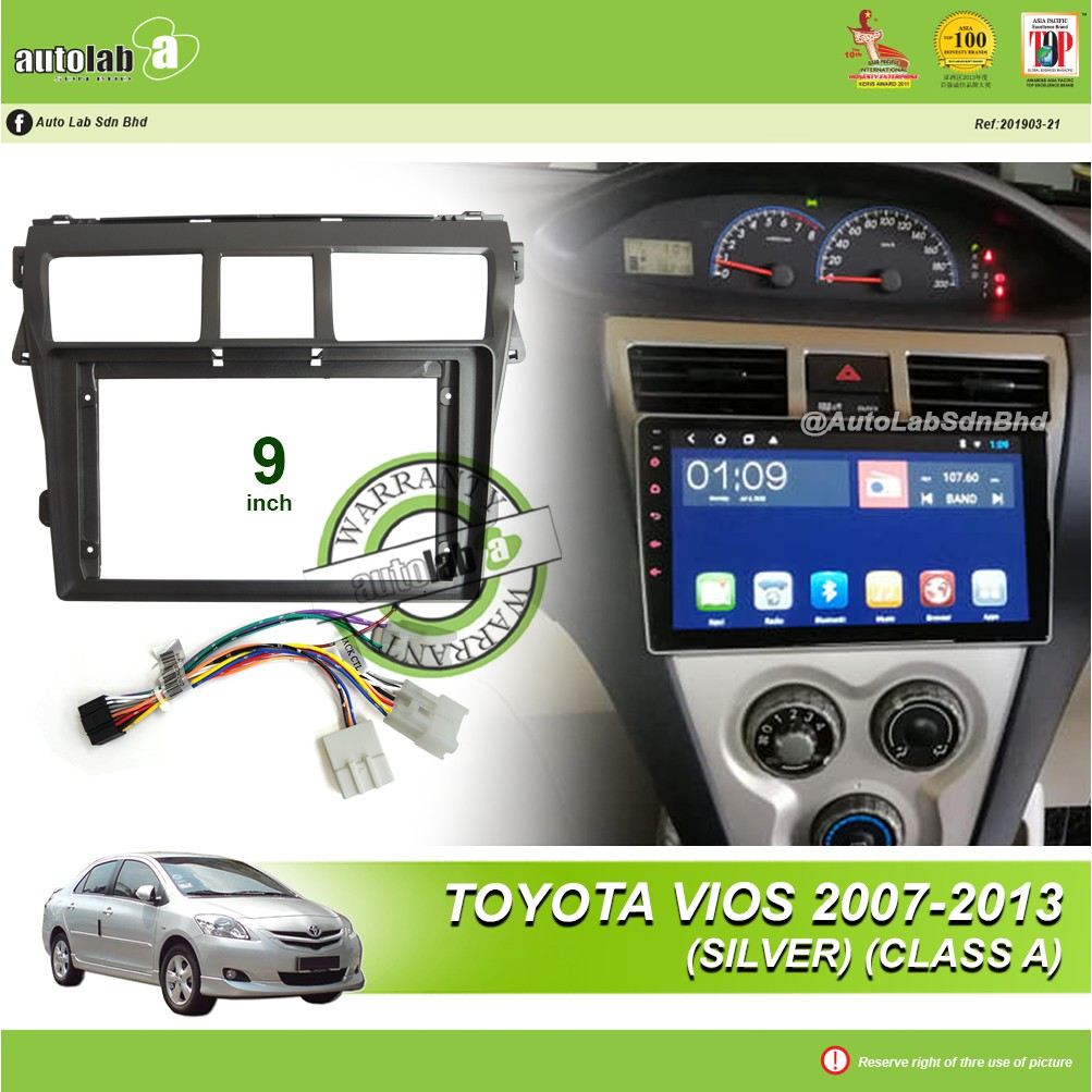 """Android Player Casing 9"""" Toyota Vios 2007-2013 (Silver) (Class A) with Socket Toyota CB-8"""