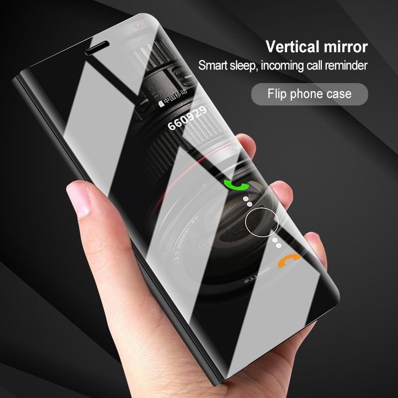 OPPO R17 Plus A7 F9 Luxury Mirror Flip Smart Cover Leather Case | Shopee Malaysia