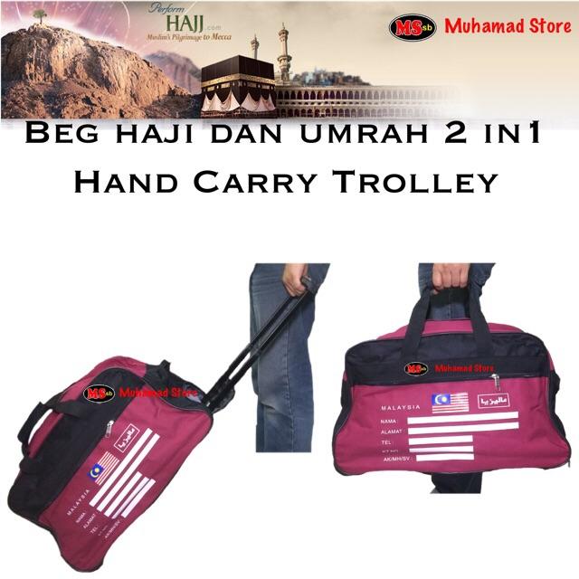 Beg haji dan umrah 2 in1 / Portable 2 in 1 Hand Carry Trolley 35L Luggage Travel