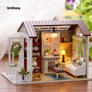Christmas Dollhouse Decorations.Brit Diy Mini Loft Dollhouse Kit Realistic Wooden House Furniture Toy Christmas Gift