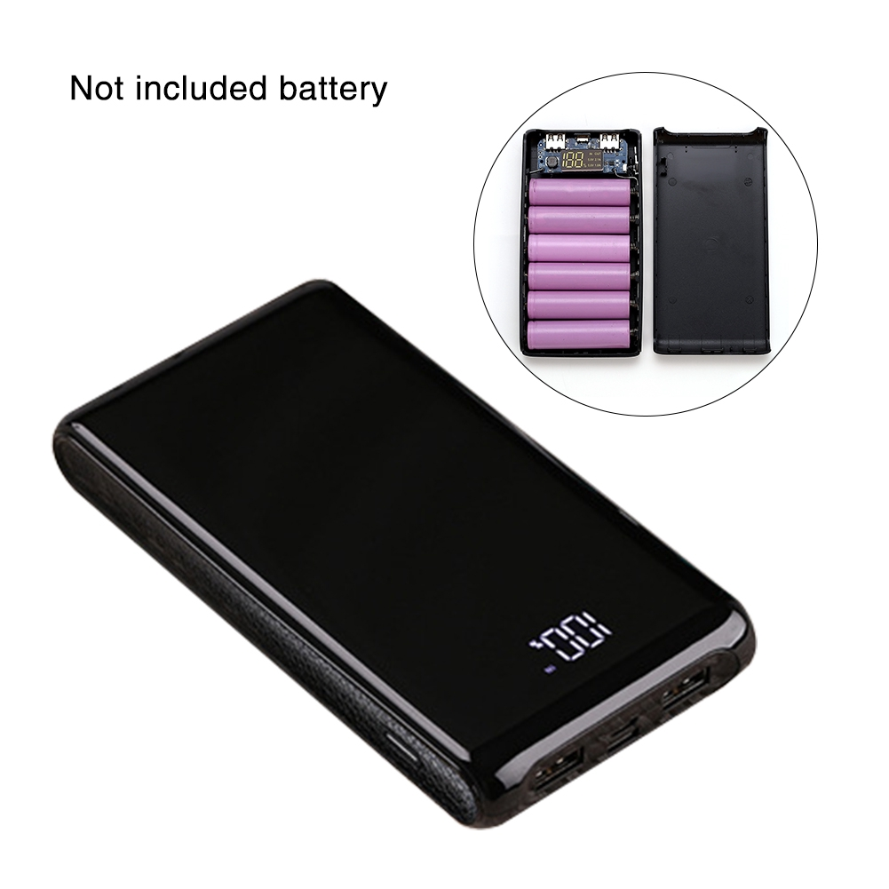 6 Sections Dual Interface 18650 Mobile Digital Display Portable Power Bank  Case