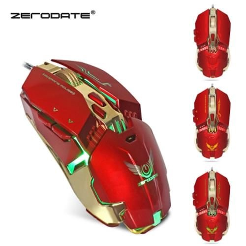 ZERODATE X800 WIRED GAMING MOUSE ADJUST WEIGHT 3200DPI (RED)