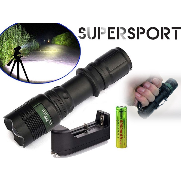 6000LM  Q5 LED C8 Portable Zoomable Flashlight 18650 Torch Lamp Light DI